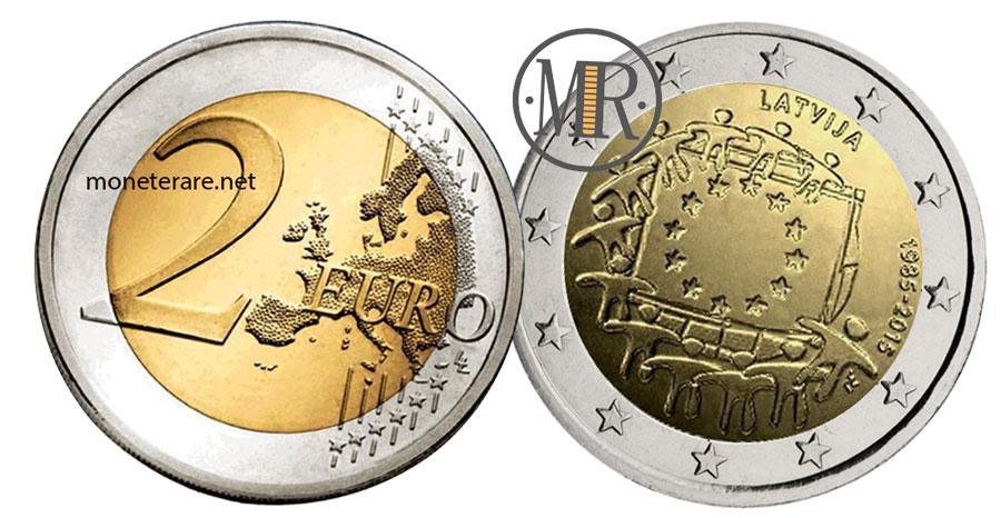 2 Euro Commemorativi Lettonia 2015 - Bandiera Europea