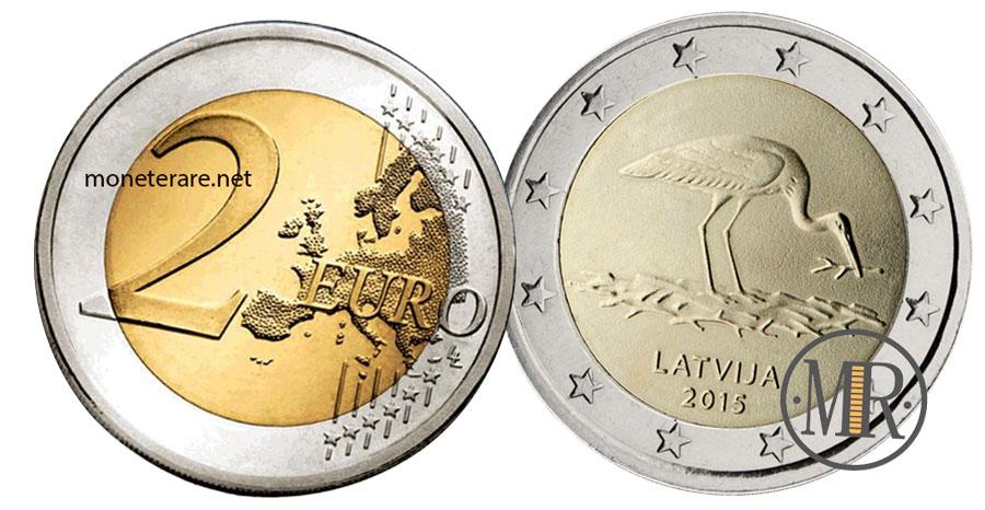 2 Euro Commemorativi Lettonia 2015 - Cicogna Nera