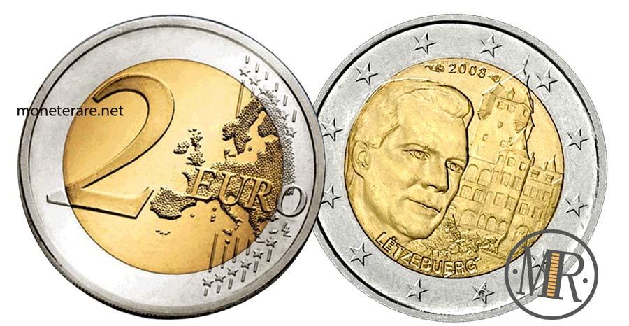 Moneta da 2 Euro Commemorativi Lussemburgo 2008 Château de Berg Castello