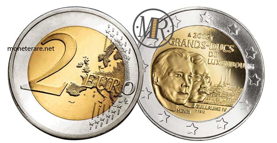2 Euro Commemorativi Lussemburgo 2012 Anniversario Morte Guillaume IV di Lussemburgo