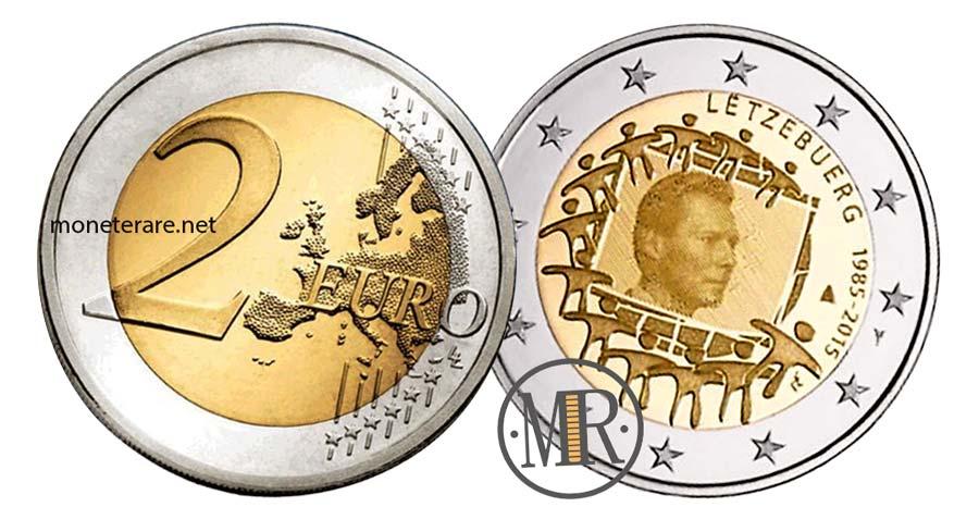 moneta da 2 Euro Commemorativi Lussemburgo 2015 Anniversario Bandiera