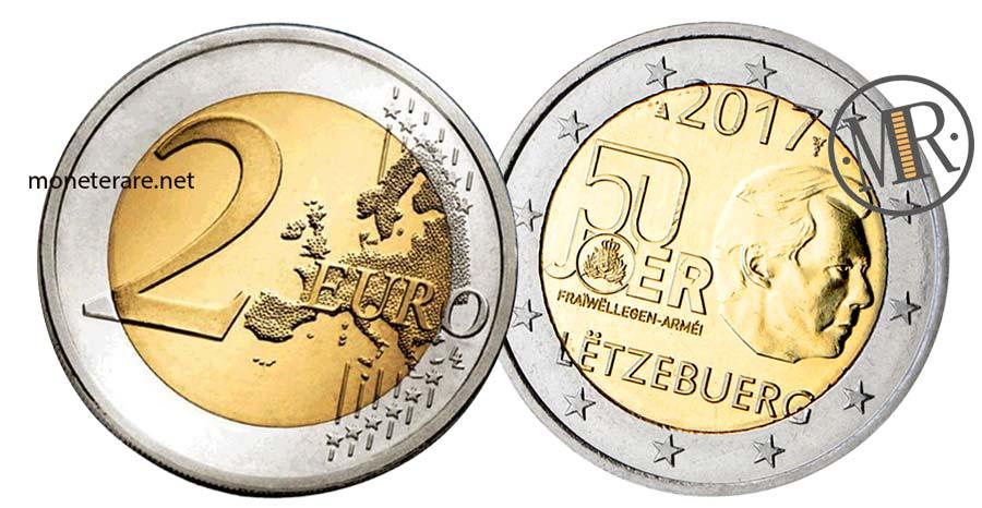 moneta da 2 Euro Commemorativi Lussemburgo 2017 Servizio Militare Volontario