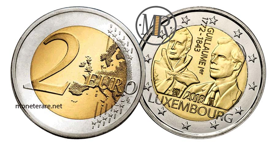 moneta da 2 Euro Lussemburgo 2018  Commemorativi dell'Anniversario morte Granduca Guillaume I