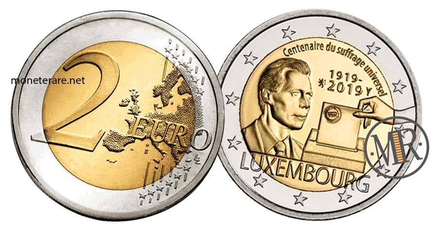 2 Euro Commemorativi Lussemburgo 2019 Suffragio Universale 100