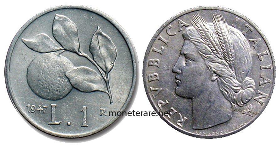 "1 lira ""Arancia"" 1947 - Italian Rare Coin"