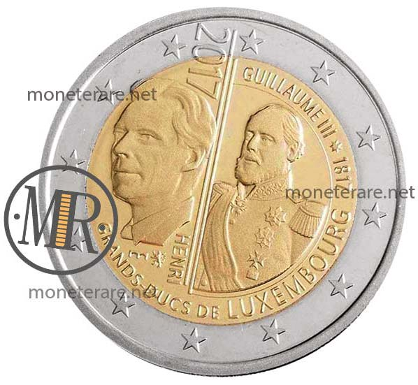 Moneta da 2 Euro Commemorative Lussemburgo 2017 Granduca Guillaume III Seconda versione Fondo Specchio