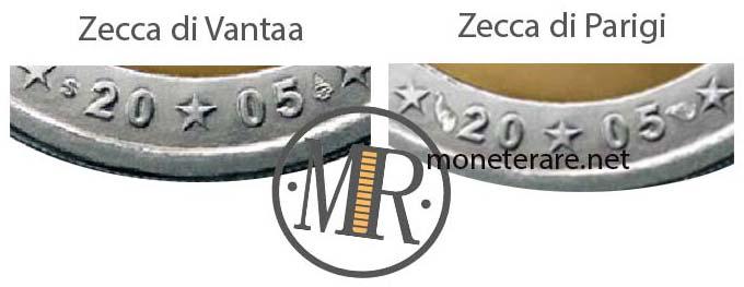 2 Euro Commemorativi Lussemburgo 2005 Varianti Zecche