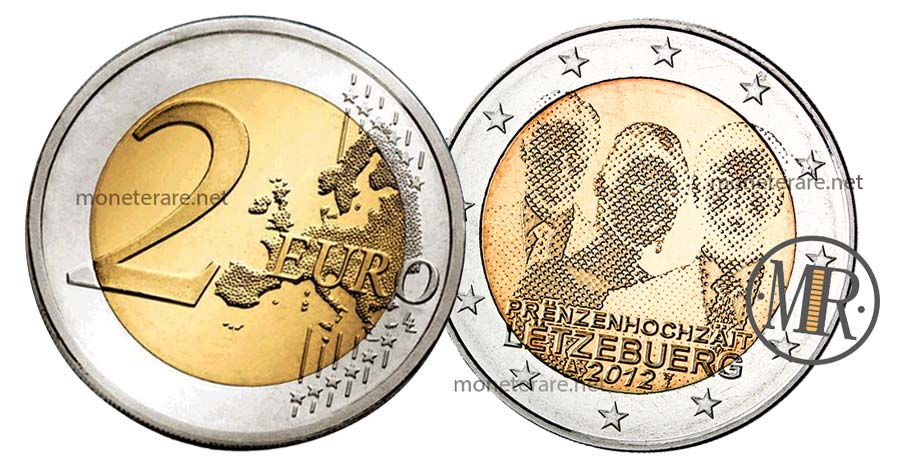 moneta 2 Euro Lussemburgo 2012 Commemorativi del Matrimonio Guillaume e Stephanie
