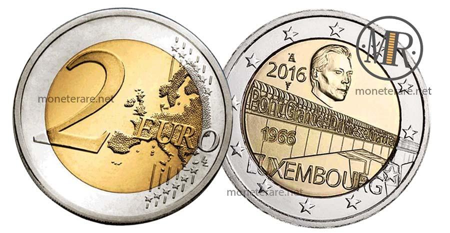 moneta da 2 Euro Commemorativi 2016 Lussemburgo  del Ponte di Charlotte (Prima Versione)