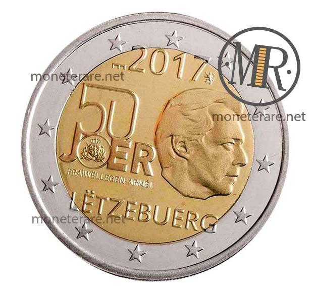 2 Euro Lussemburgo 2017  Commemorativi Servizio di Leva Volontario Seconda Serie Fondo Specchio