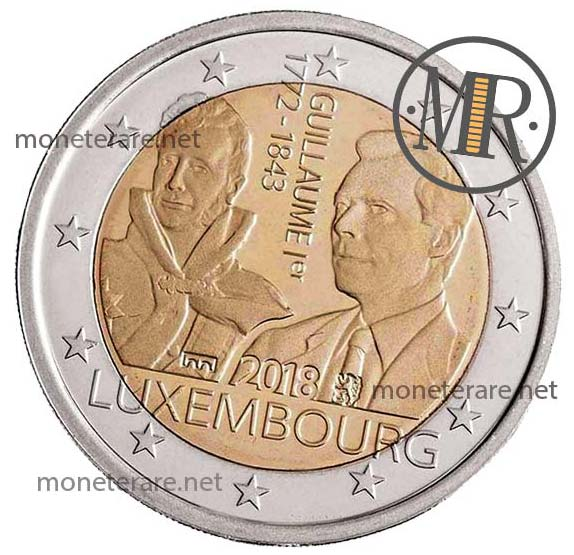 2 Euro Commemorativi Lussemburgo 2018 Anniversario morte Granduca Guillaume I Seconda Versione Fondo Specchio