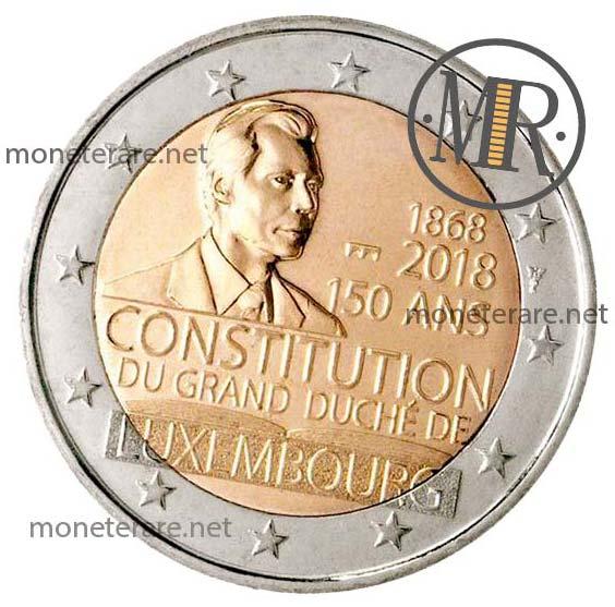 2 Euro Commemorativi Lussemburgo 2018 Costituzione Seconda Versione