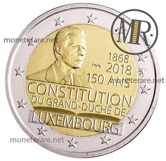 2 Euro Commemorativi Lussemburgo 2018 Costituzione Terza Versione Fondo Specchio