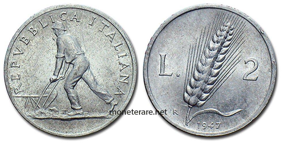 """2 lire 1947 """"Spiga"""" - Value of this Italian Rare Piece Coins"""