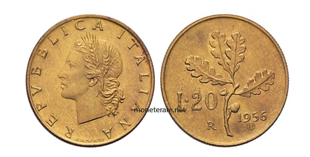 20 lire of 1956 - Italian Rare Lira Coins
