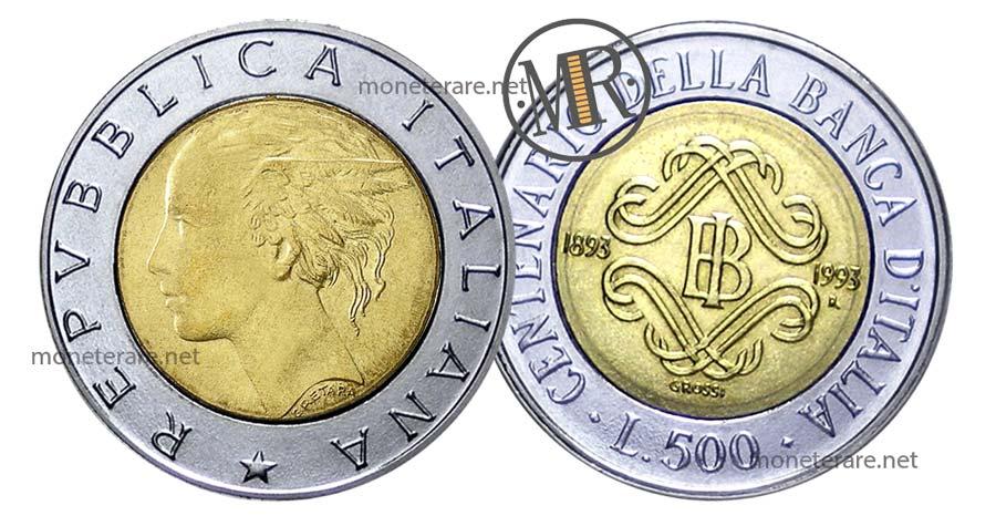 500 Lire Bimetalliche Banca d'Italia 1993