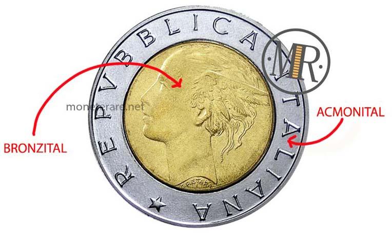 500 Lire Bimetalliche Italia Composizione