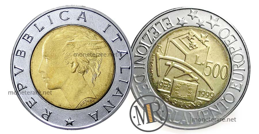 500 Lire Bimetalliche Italiane Elezioni Parlamento 1999