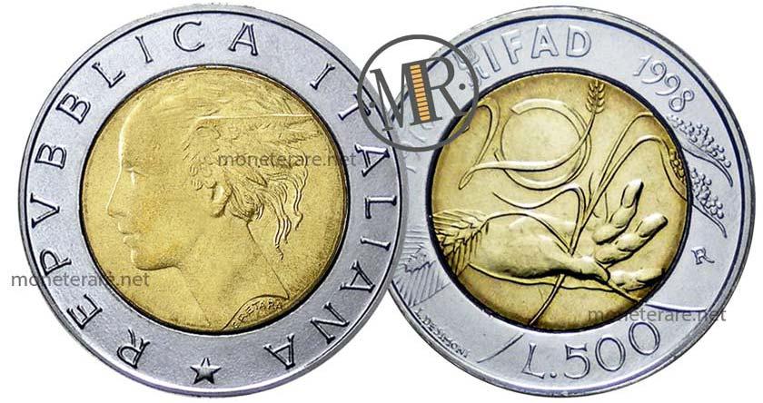 500 Lire Bimetalliche Italiane IFAD 1998