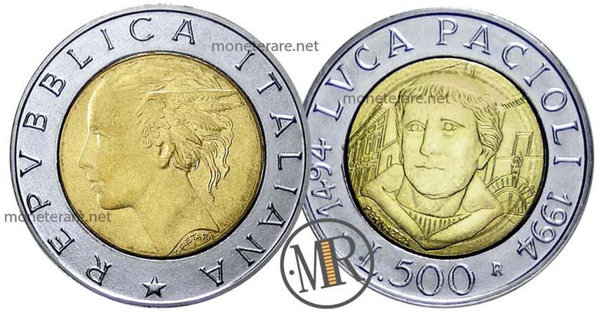 500 Lire Bimetalliche Italiane Luca Pacioli 1994