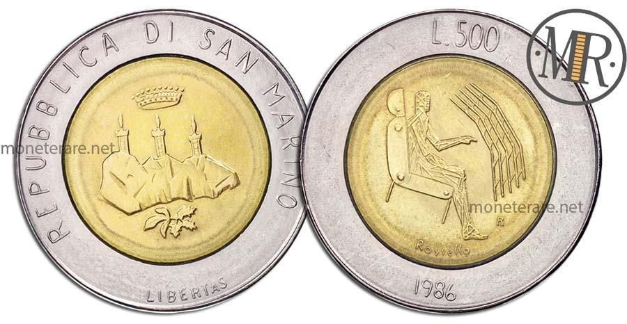 "500 Lire San Marino 1986 Coin - ""Technological evolution"""