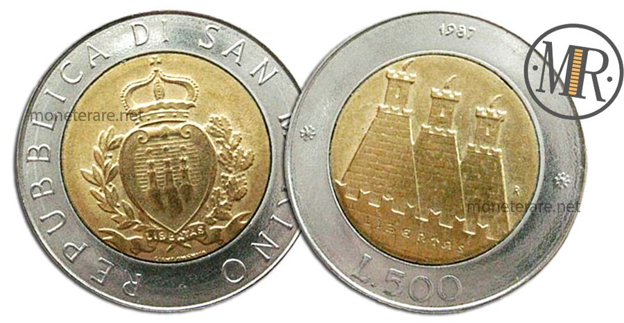 "500 Lire San Marino 1987 Coin - ""XV resume of San Marino minting coins"""