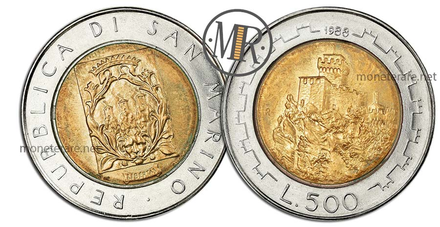 """500 Lire San Marino 1988 Coin - """"The Second Tower"""""""