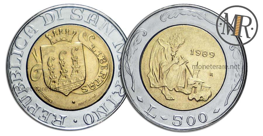 500 Lire San Marino 1989 Bimetalliche Il Santo Scalpellino