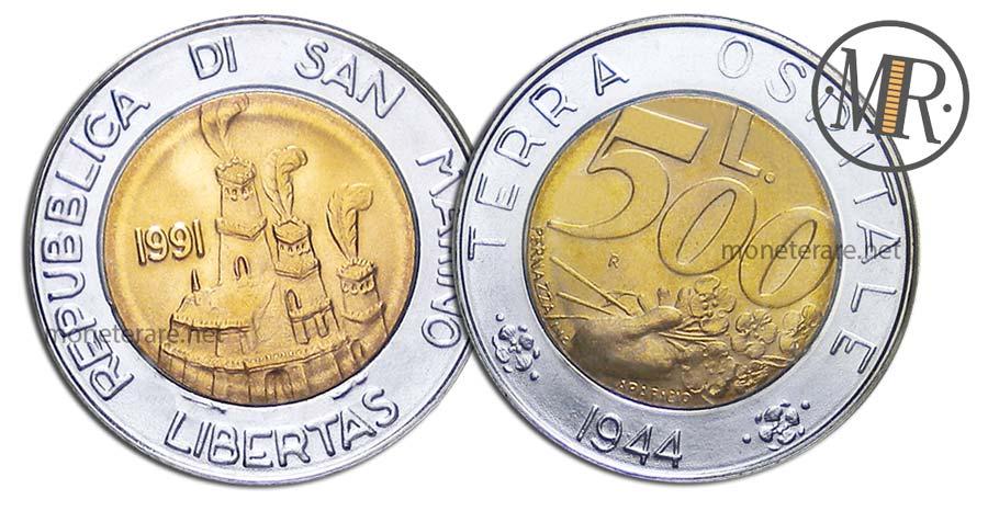 500 Lire San Marino 1991 Bimetalliche Terra Ospitale