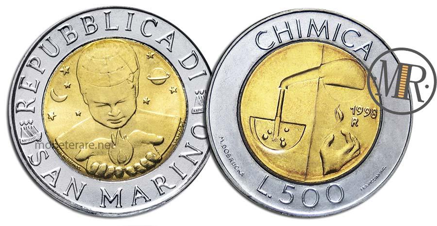 500 Lire San Marino Bimetalliche 1998 la Chimica
