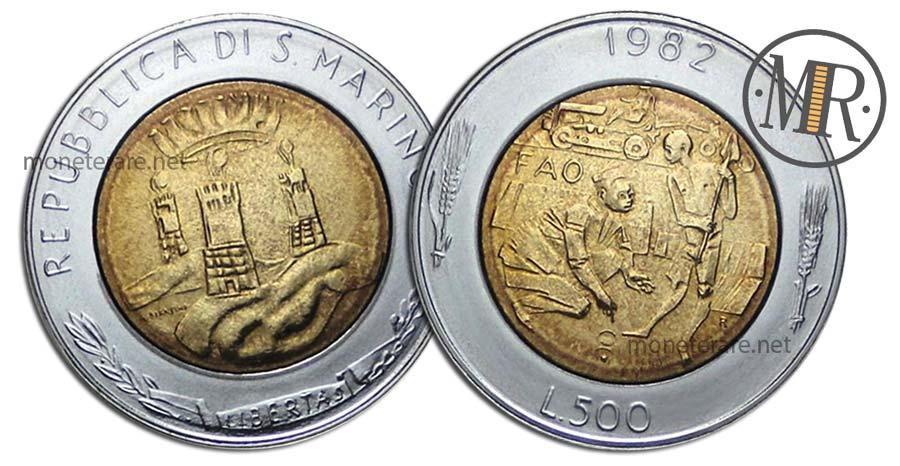 500 lire bimetalliche San Marino 1982 Lotta contro la fame nel mondo