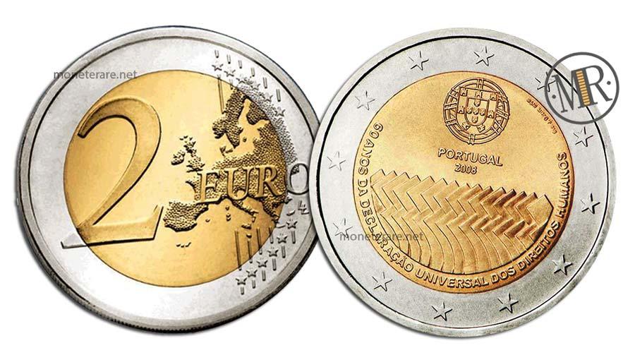 2 Euro Commemorativi Portogallo 2008 Diritti Umani
