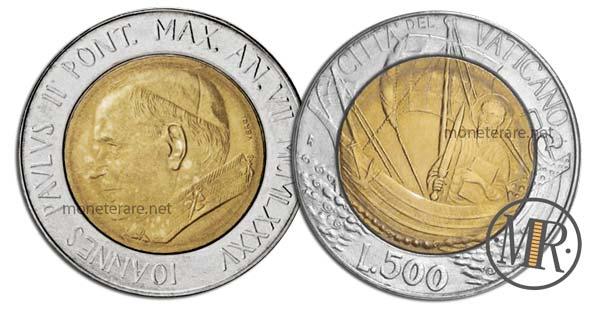 500 Lire Bimetalliche Vaticano 1985 Pietro