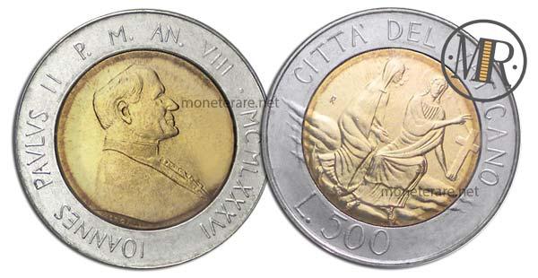 500 Lire Bimetalliche Vaticano 1986 Croce