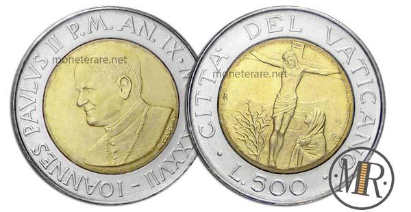500 Lire Bimetalliche Vaticano 1987 La Madonna del Salvatore