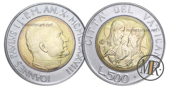 500 Lire Bimetalliche Vaticano 1988