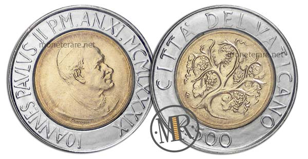 500 Lire Bimetalliche Vaticano 1989
