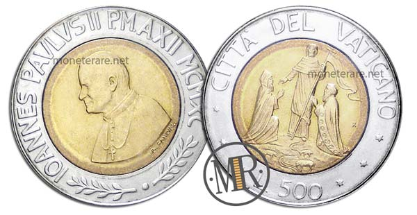 500 Lire Bimetalliche Vaticano 1990 Cristianesimo in Europa