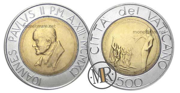 500 Lire Bimetalliche Vaticano 1991 Andate a Predicare