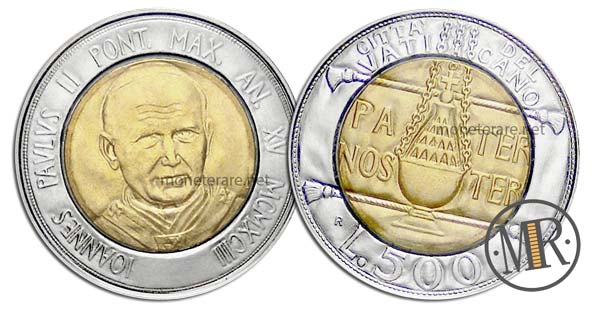 500 Lire Bimetalliche Vaticano 1993 Padre Nostro