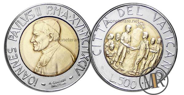 500 Lire Bimetalliche Vaticano 1994 Razzismo e Solidarietà