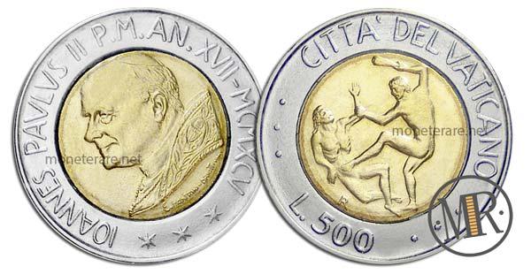 500 Lire Bimetalliche Vaticano 1995 La Violenza