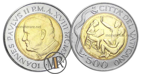 500 Lire Bimetalliche Vaticano 1996 Catechismo