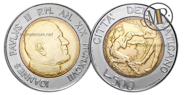500 Lire Bimetalliche Vaticano 1997 Perdono e Pace