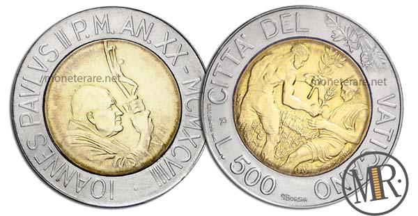 500 Lire Bimetalliche Vaticano 1998 Grano e Olive