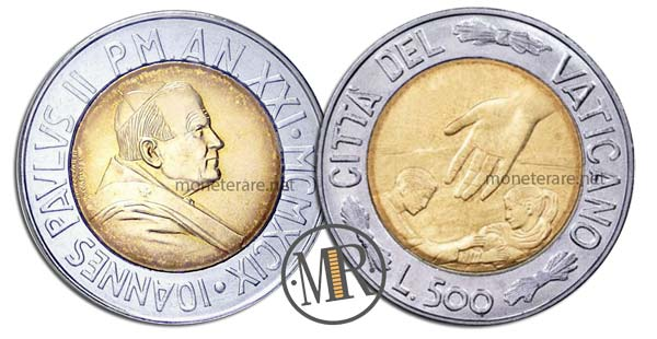 500 Lire Bimetalliche Vaticano 1999