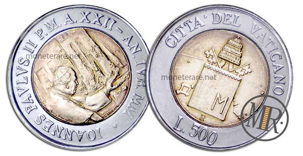 500 Lire Bimetalliche Vaticano 2000 Pellegrinaggio in Terrasanta