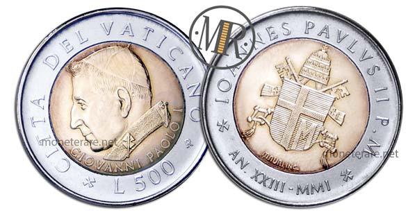 500 Lire Bimetalliche Vaticano 2001 Giovanni Paolo I