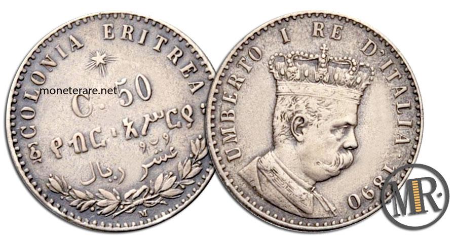 50 Centesimi Lire Umberto I Colonia Eritrea