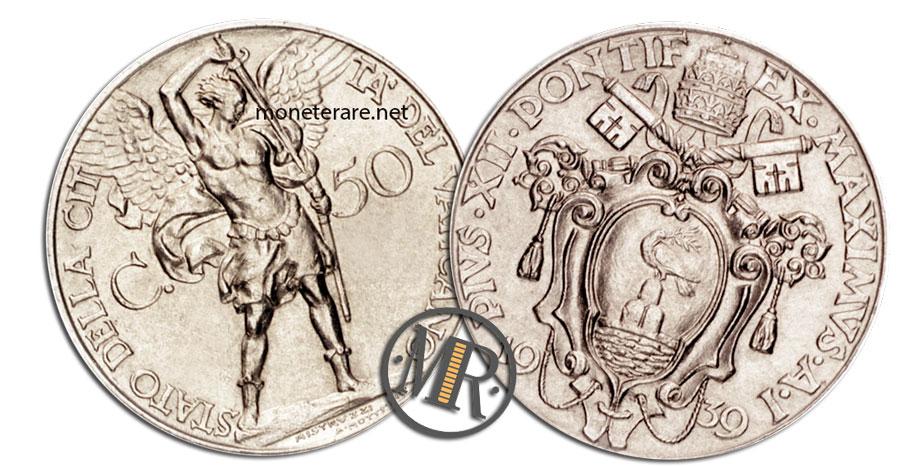 50 Centesimi Lire Vaticano Pio XII 1 Tipo